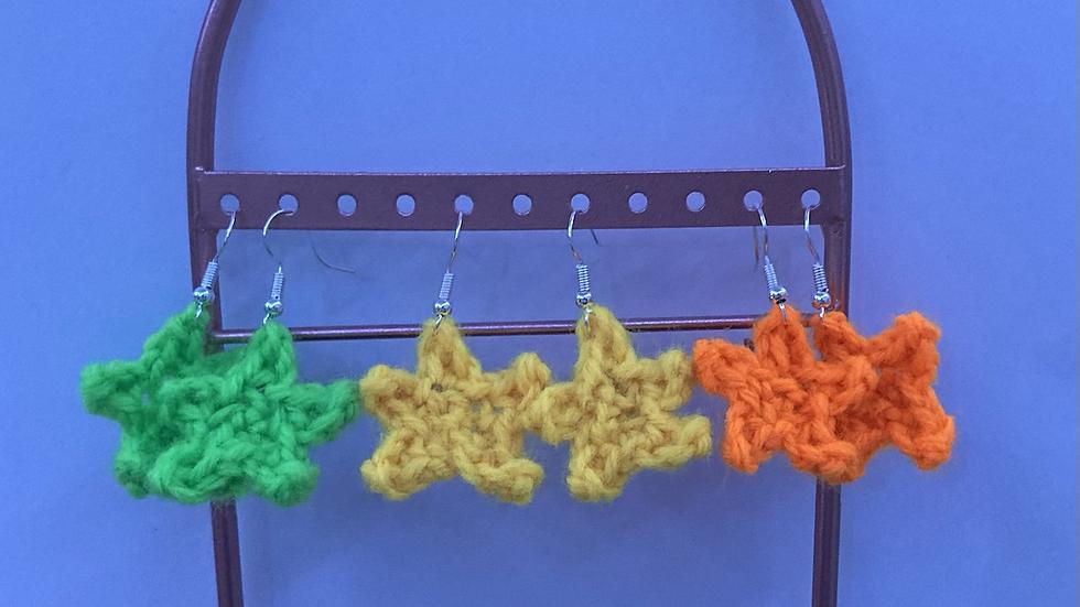 UV Reactive Crochet Star Earrings