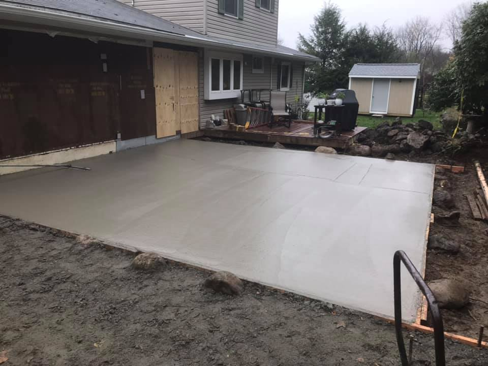 The finish job for foundation and concrete garage floor.