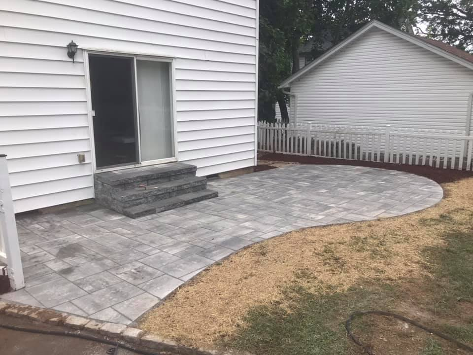 Unilock patio and steps.