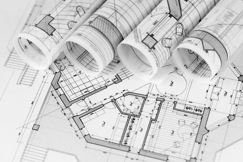 rolls of architecture blueprints & house