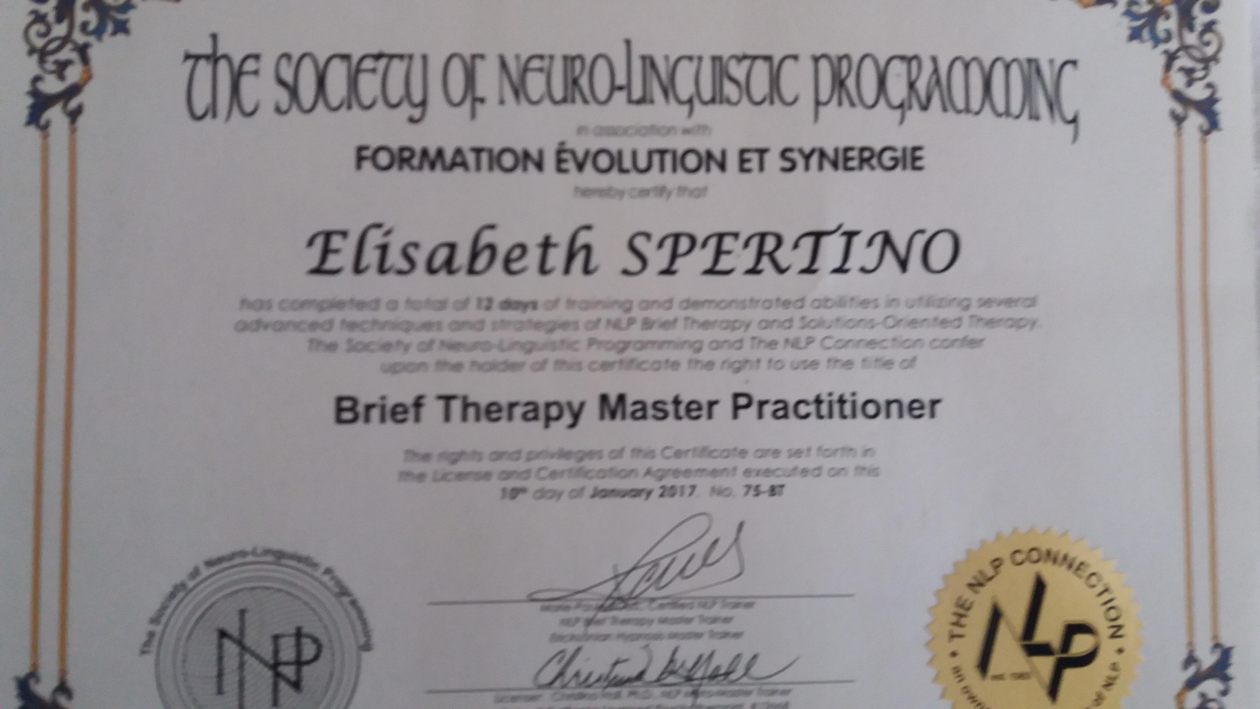 Maître Praticien en thérapie brève