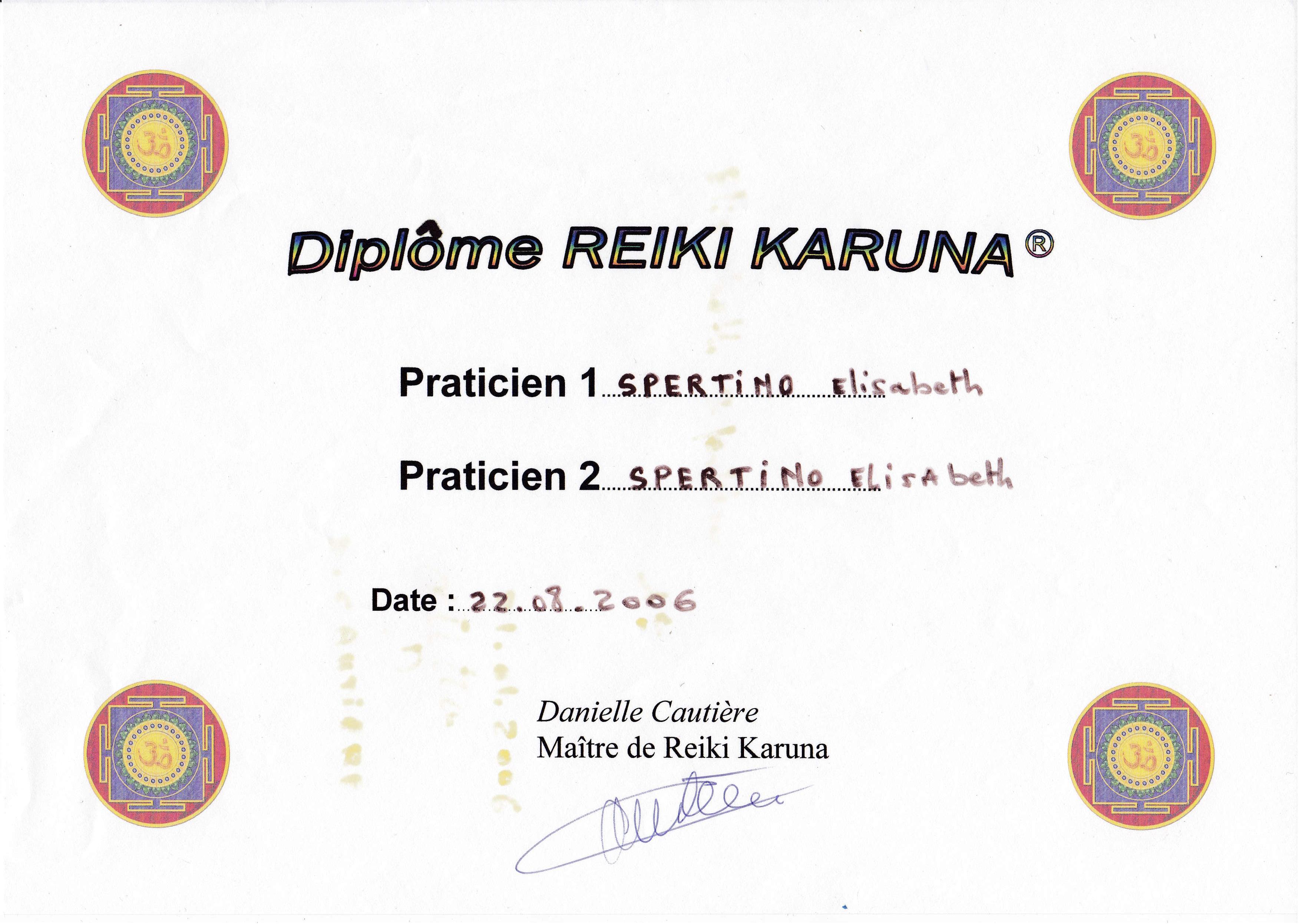 Paticien Réïki Karuna 2 dégrés