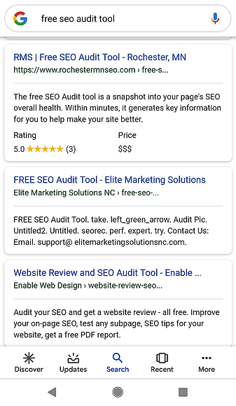 Free SEO Audit Tool results in SERPs
