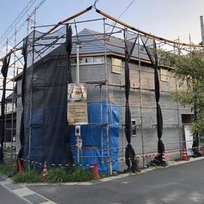 まんまるコッペ店舗建設 外壁モルタル塗り工事