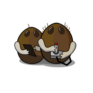 This is the logo for Coconut Game Studio. It shows 2 coconuts holding gaming devices.