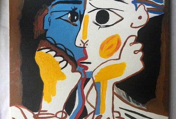Peinture acrylique Les amants
