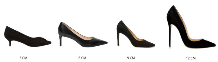 chaussures a talons, différentes hauteurs de talon