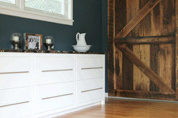 built ins and barn door