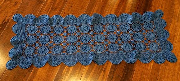 Repurposed lace table runner - denim (02-042)