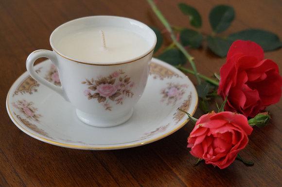 Repurposed Rosebud Tea Cup Candle (02-048)