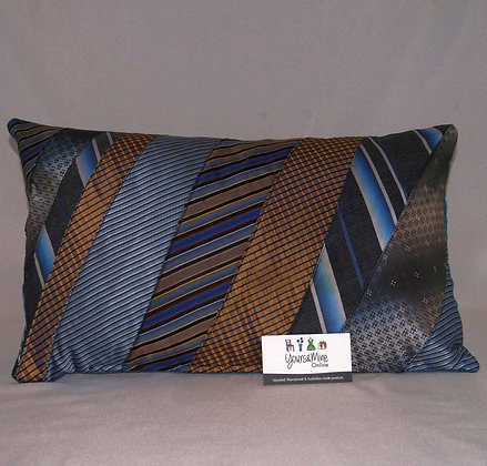 Upcycled Mens Tie Cushion - Board Walk (02-061)