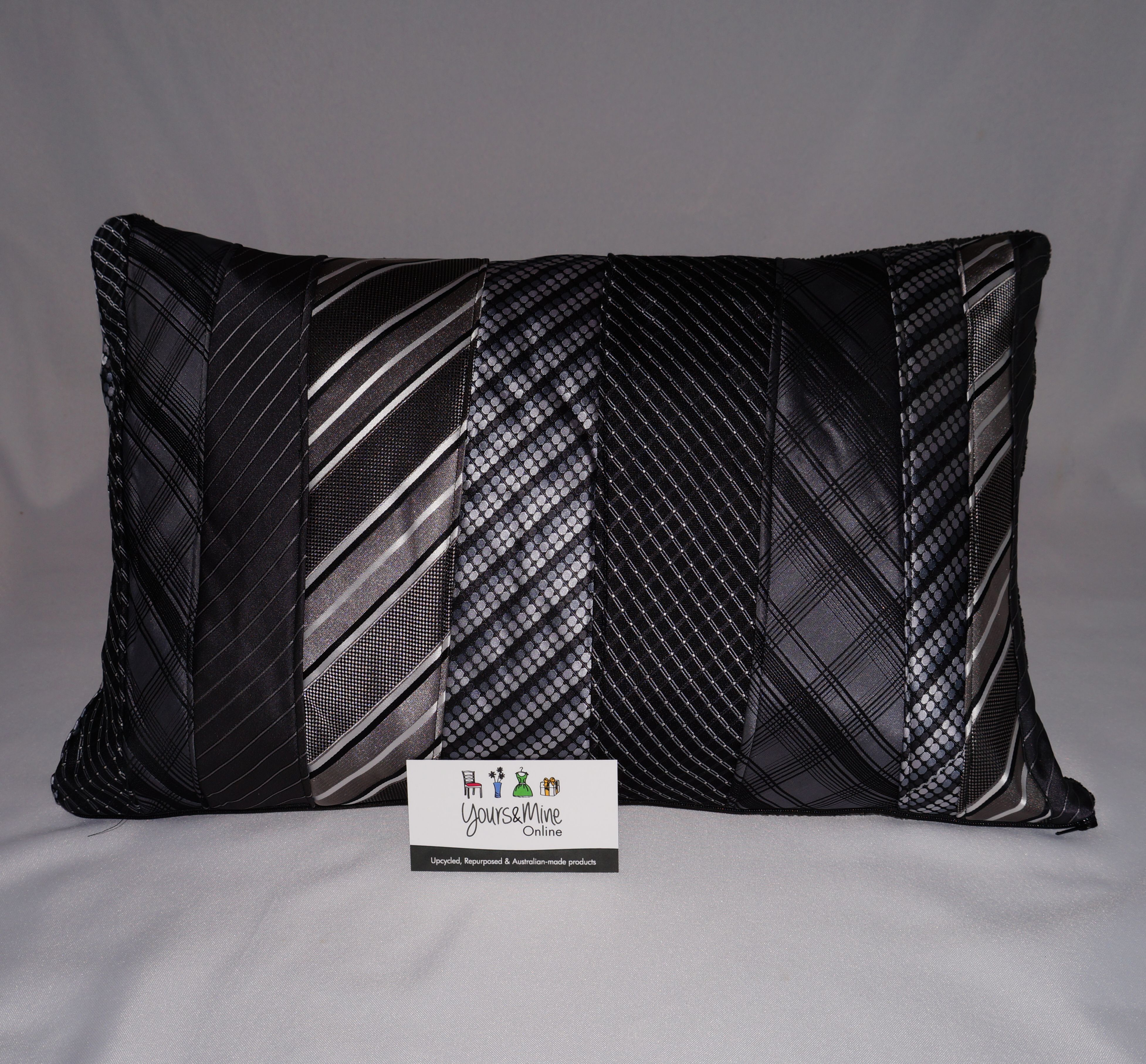 Upcycled Tie Cushion Rectangle 50 Dark shades of Grey.JPG