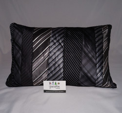 Upcycled Tie Cushion Rectangle 50 Dark shades of Grey.JPG