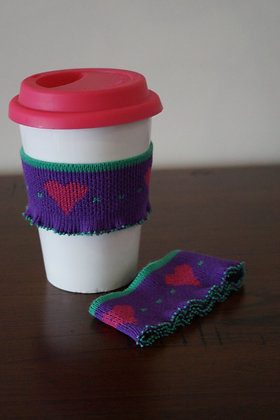 Coffee cuff (single) purple,pink heart (04-007)