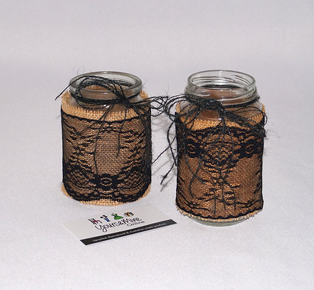 Tealight Jar-Hessian&black lace, set 2 (06-009)