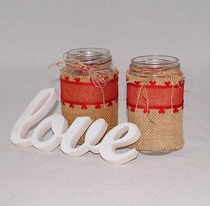 Tealight Jars with Hessian & Red Hearts (05-006)