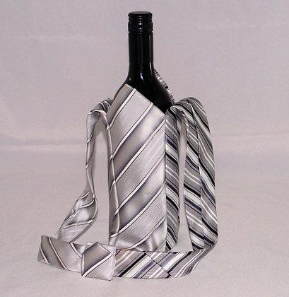 Mens Tie BYO Wine Bag Grey Stripes (04-042)