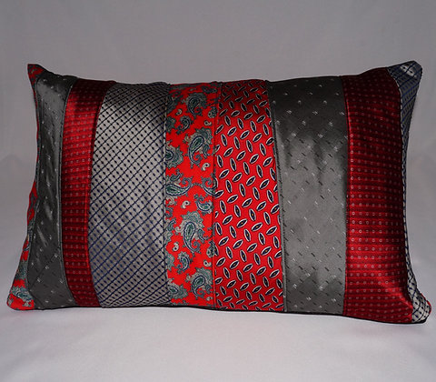 Upcycled Mens Tie Cushion-Paisley Passion (02-066)