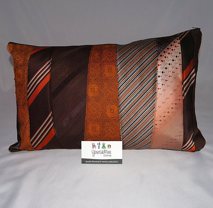 Upcycled Mens Tie Cushion - Whiskey&Dry (02-072)