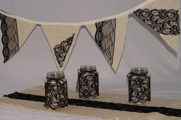 Hessian&Black Lace Celebration Set (06-017)
