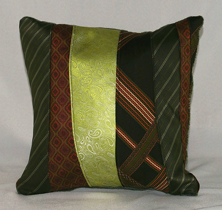 Upcycled Mens Tie Cushion-Green with Envy (02-063)