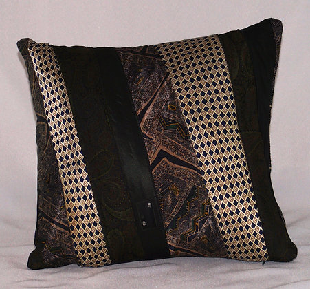 Upcycled Mens Tie Cushion - Court Jester (02-064)
