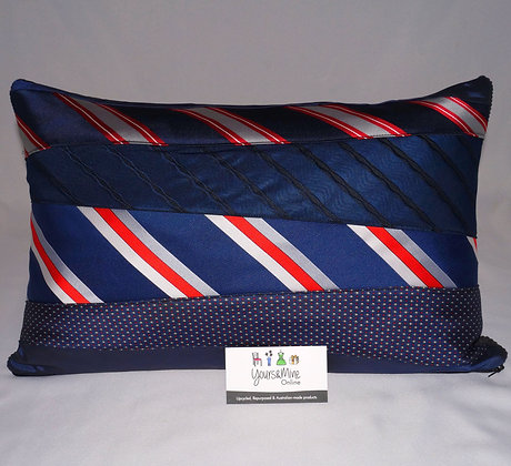 Upcycled Mens Tie Cushion-Corporate Ladder(02-071)