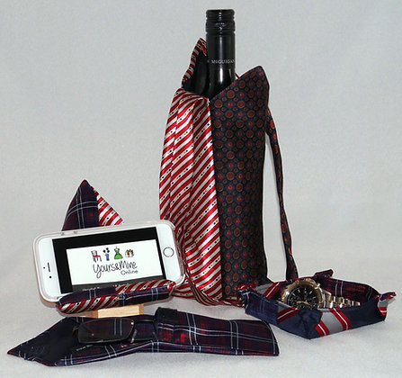 Upcycled Ties 4 piece Gift Set - Navy&Red (05-009)