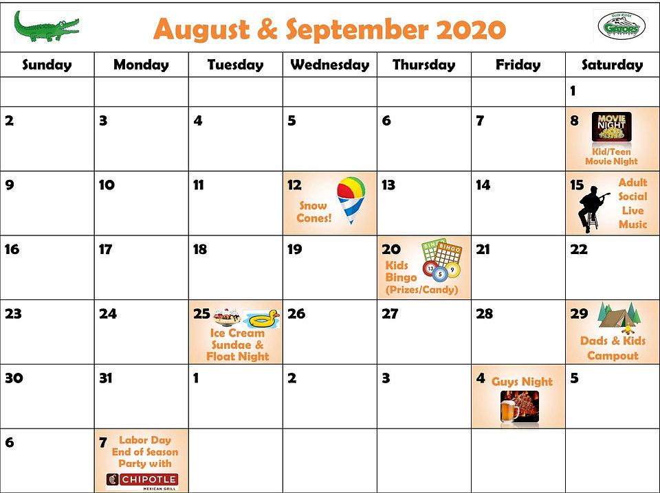 Glen Ridge August 2020 Social Calendar 0