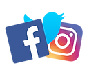 Various social media icons: facebook, twitter, instagram logos