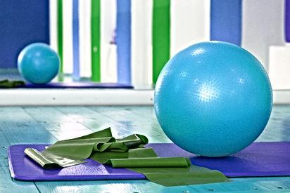 Pilates ball, pilates mat, exercise equipment
