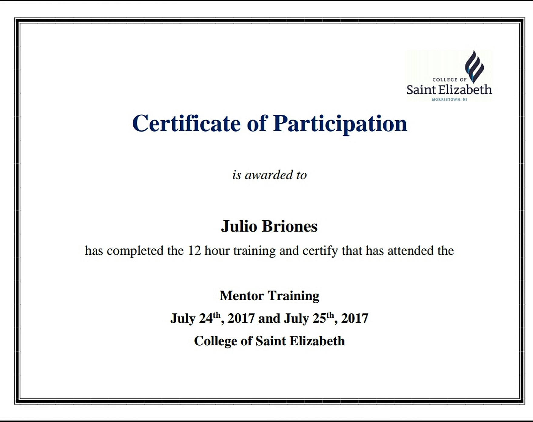 sample certificates of participation