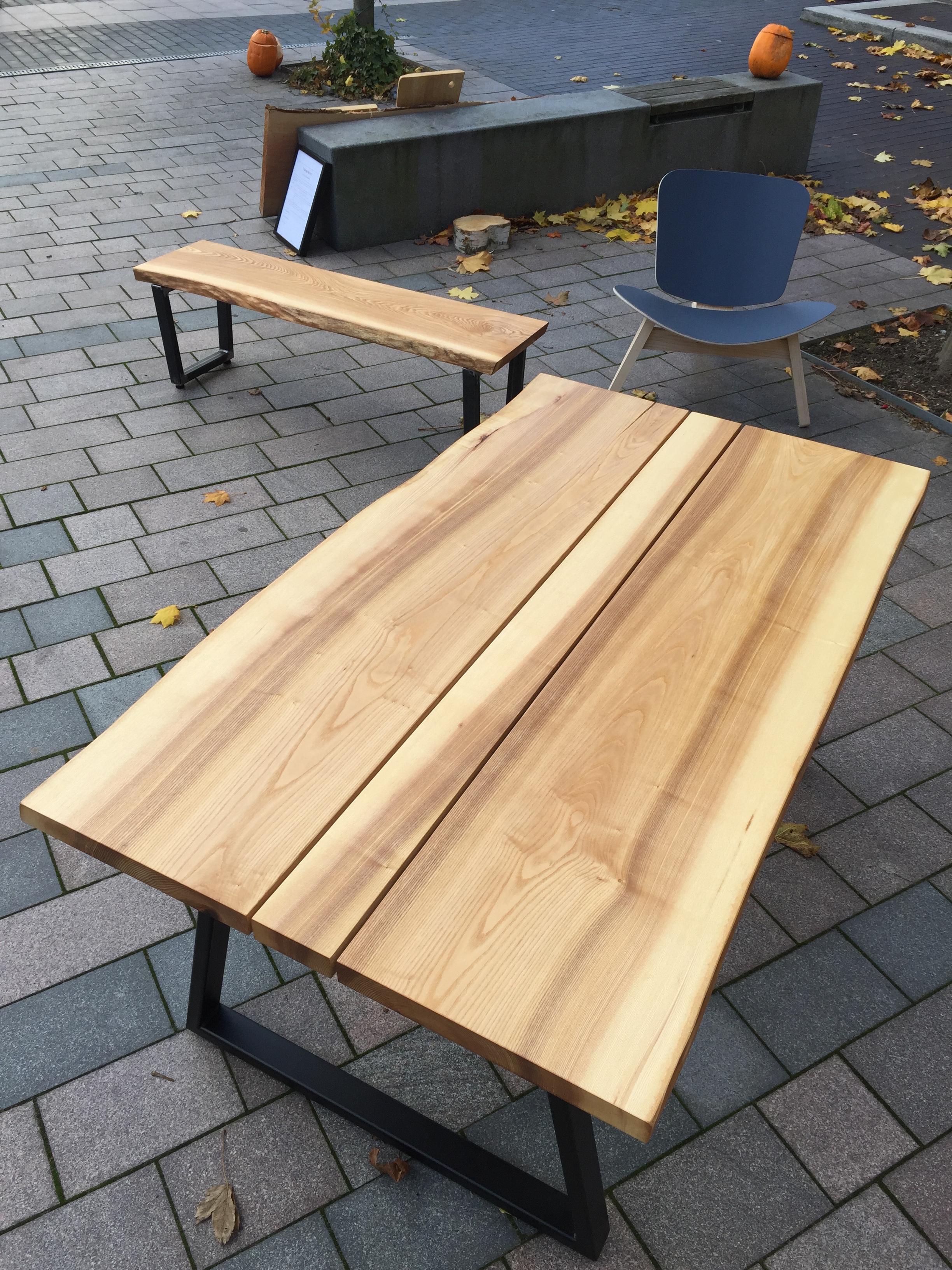 Asketræ bord, bænk, stol