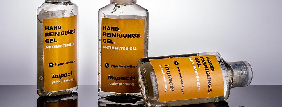 Hände Reinigungsgel im eigenen Grafikdesign
