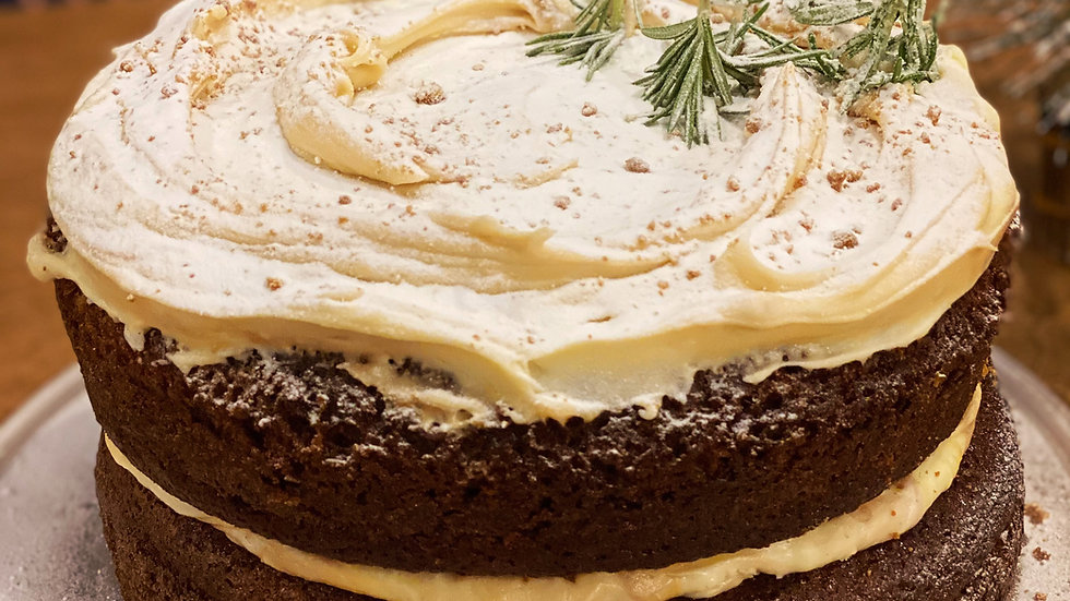 """Ginger Cake with Biscoff Frosting (6"""" and 8"""") (without the Christmas Trees)"""