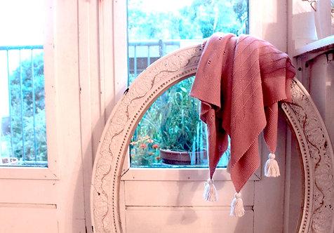 リボン柄のブランケット  weekend02 old pink