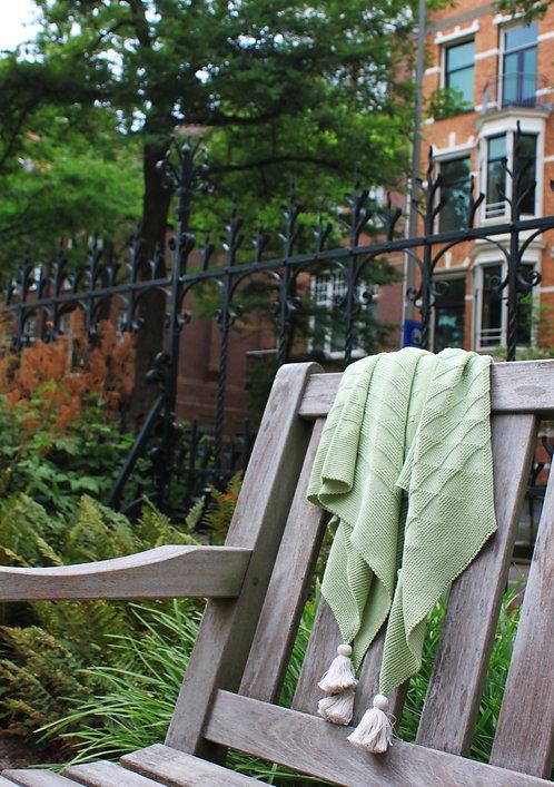 リボン柄のブランケット  weekend02 apple green
