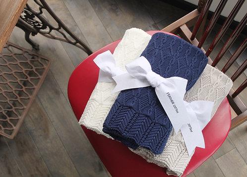 feather cotton®のブランケット / weekend 03 navy Mサイズ