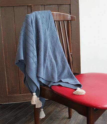 リボン柄のブランケット  weekend02 dull blue