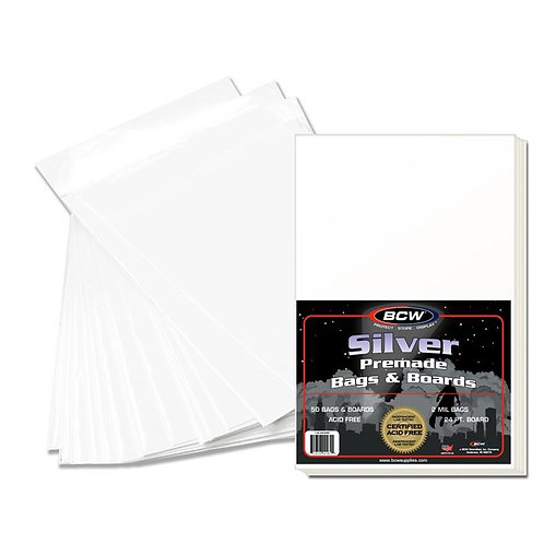50 BCW Pre Assembled SILVER Comic Book bags and boards combo