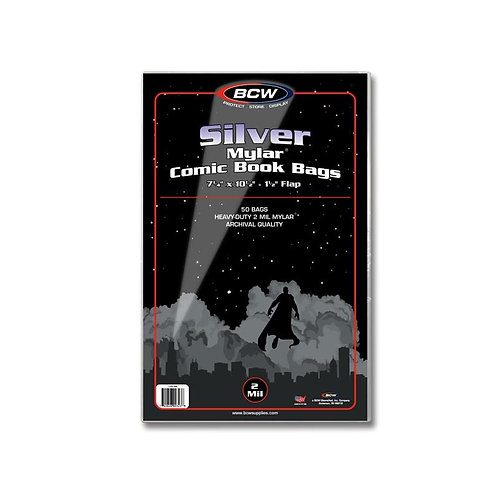 50 SILVER AGE Mylar Comic Bags - 2MIL