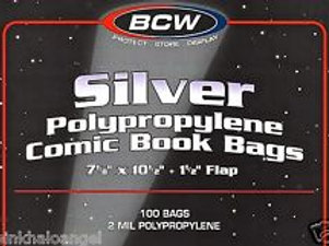 100 BCW Silver Age Comic Book Bags