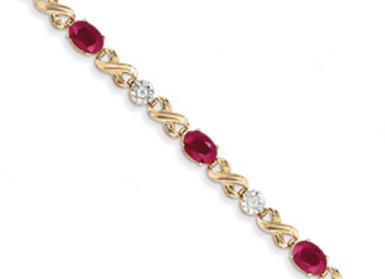 14K Diamond And Ruby Bracelet