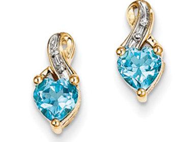 14k Yellow Gold Diamond & Light Swiss Blue Topaz