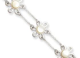 Sterling Silver Mother Of Pearl Flower Bracelet