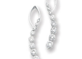 14k White Gold Diamond Journey Earrings