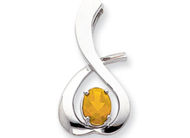 14k White Gold 10x8mm Oval Citrine Slide