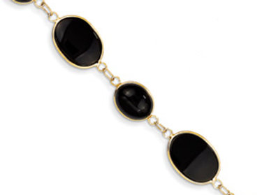 14k 7in Polished Genuine Fancy Onyx Bracelet