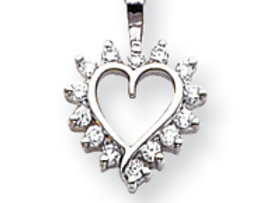 14k White Gold AAA Diamond Heart Pendant