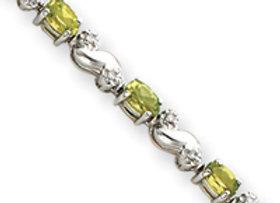14k White Gold Peridot & Diamond Bracelet